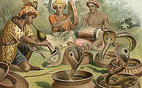"- ""Snakecharmers,"" a chromolithograph by Alfred Brehm, c.1883"