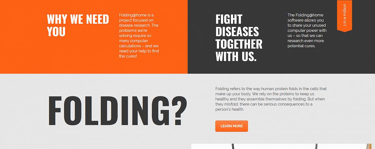 بخشی از صفحه اصلی وب سایت foldingathome.org